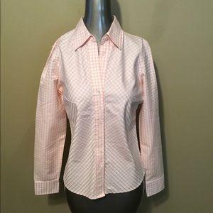 Banana Republic pink checkered cotton button shirt